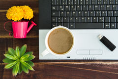 Notebook computer with coffee cup, computer and flower. View fro. M above with copy space royalty free stock image