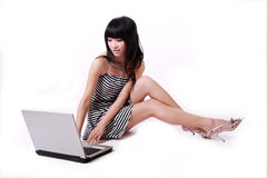 Free Notebook Computer Girl Stock Photos - 9343653