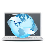 Notebook Computer with Planet Earth. On white background Royalty Free Stock Image
