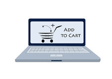 Notebook computer showing add to cart icon Stock Photos