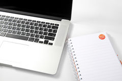 Notebook computers placed on white. Stock Image