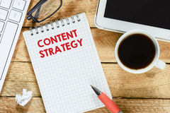Notebook with content strategy Stock Photography