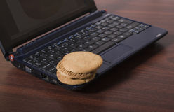 Notebook and cookies. Notebook and some cookies on top for a short break on your work Stock Photography