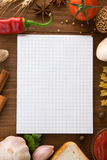 Notebook for cooking recipes and spices Royalty Free Stock Photography