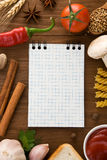 Notebook for cooking recipes and spices Stock Image
