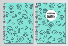 Notebook cover. Back to school background. Branding template wit Stock Photo