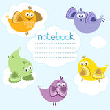 Notebook cover with birds on blue background and place for text. Stock Image