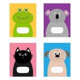 Notebook cover. Cat, dog, frog, koala bear. Zoo animal face   Royalty Free Stock Images