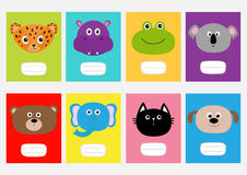 Notebook cover Cat, jaguar, dog, hippopotamus, elephant, bear, frog, koala. Zoo animal head face. Cute cartoon character set. Baby Stock Photography