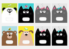 Free Notebook Cover Composition Book Template. Baby Cat, Panda, Dog, Bear Kitty Head. Bow, Butterfly, Dragonfly, Bee, Mosquito. Cute Ca Royalty Free Stock Photo - 81074645