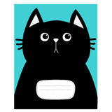 Notebook cover Composition book template. Black cat kitty head. Cute cartoon character. Pet baby collection Card. Flat design. Blu Royalty Free Stock Photography