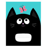 Notebook cover Composition book template. Black cat kitty head looking at butterfly insect. Cute cartoon character. Pet baby colle Stock Image