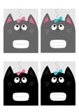 Notebook cover Composition book template. Black gray cat kitty head looking at pink blue bow. Cute cartoon character set. Pet baby collection Card. Flat design Royalty Free Stock Photos