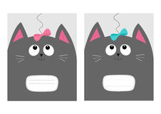 Notebook cover Composition book template. Gray cat kitty head looking at pink blue bow. Cute cartoon character set. Pet baby colle. Ction Card. Flat design Royalty Free Stock Photos