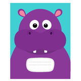 Notebook cover. Composition book template. Hippopotamus head face. Cute cartoon character hippo with tooth. Baby animal collection Royalty Free Stock Photography