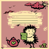 Notebook cover design with Hedgehog with jam, and a cup of tea. Royalty Free Stock Photography