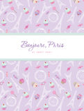 Notebook cover design on the theme of Paris. Teenage girl diary. Included seamless pattern with Eiffel tower, cupcakes Royalty Free Stock Photography