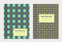 Notebook cover designs. Vector set. Royalty Free Stock Photo