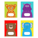 Notebook cover Jaguar, hippopotamus, elephant, bear. Zoo animal face body. Cute cartoon character set Baby children education. Fla Stock Photo