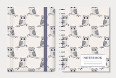 Notebook covers with owls. Vector set. Stock Photography