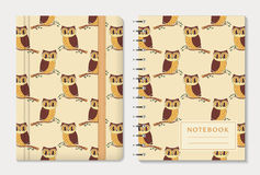 Notebook covers with owls. Vector set. royalty free illustration
