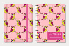 Notebook Covers With Owls. Vector Set. Stock Photos