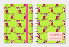 Notebook Covers With Owls. Vector Set. Stock Photo