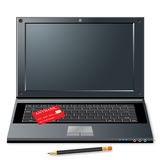 Notebook, credit card and pencil Royalty Free Stock Image