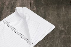 Notebook crumpled paper wrinkled blank  white  on the desk Stock Photos
