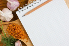 Notebook for culinary recipes Stock Photos