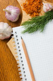 Notebook for culinary recipes Stock Photography