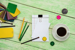 Notebook and cup of coffee Royalty Free Stock Image