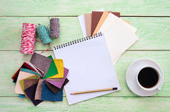Notebook and cup of coffee Stock Photography