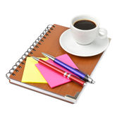 Notebook and cup of coffee Stock Image