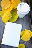 Notebook, cup of coffee and yellow autumn leaves Stock Images