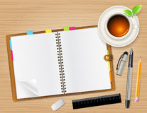 Notebook and cup of tea Royalty Free Stock Photo