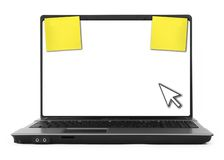 Notebook with cursor and yellow notes Royalty Free Stock Photography