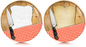 Notebook Cutting Boards with Knife and Tablecloth Stock Images