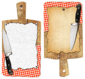 Notebook Cutting Boards with Knife and Tablecloth Stock Photo