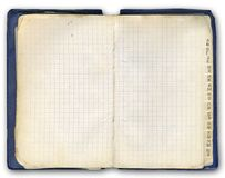 Notebook (with cyrillic). Ex-USSR notebook. Old (1984 year). Include clipping patch Stock Image