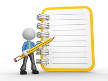 Notebook. 3d people - man, person with a notebook and a pencil Royalty Free Stock Image