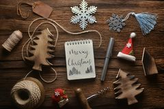 Notebook with decoration in new year theme. stock photo