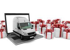 Notebook Delivery Van Gift Cartons Stock Photo