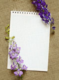 Notebook and delphinium Royalty Free Stock Photography