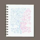 Notebook design, abstract family tree with roots Stock Photo