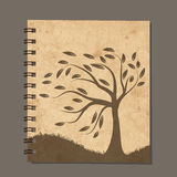 Notebook design, art tree. Old grunge paper Stock Photo