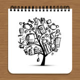 Notebook design, kitchen utensils tree Stock Photo