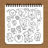 Notebook design, lions family sketch Royalty Free Stock Photos
