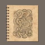 Notebook design, zenart ornament. Old grunge paper Royalty Free Stock Image