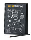 Notebook on desk with icon relate with Digital Marketing, Busine. Ss concept Royalty Free Stock Images